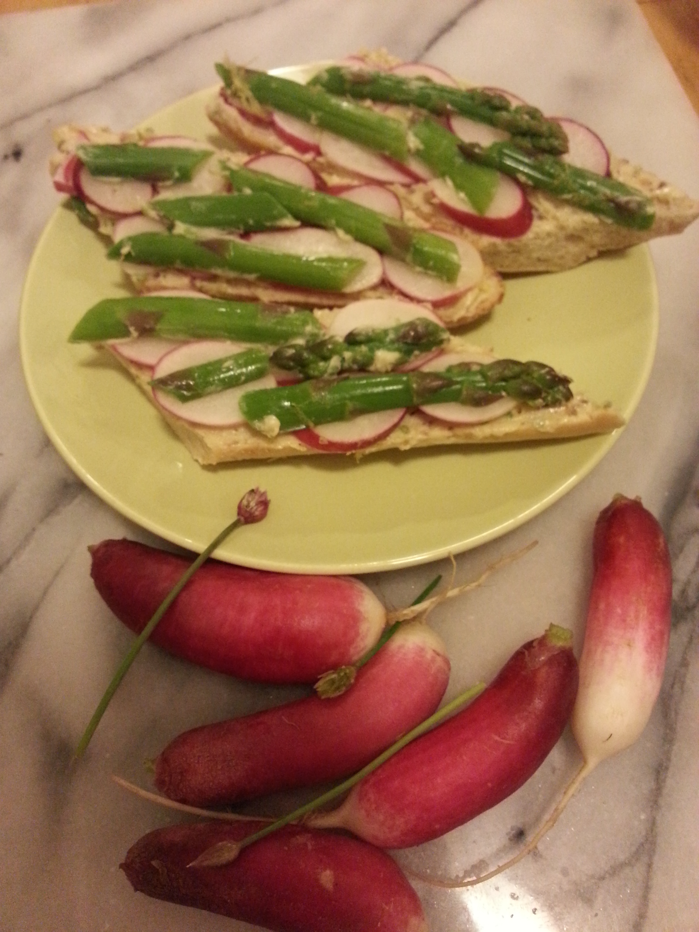 ... and Cool- Baguette with Radishes, Asparagus, and Chive-Anchovy Butter